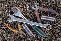 Flat Lay metal tools stock photo