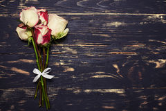 Flat lay of miniature rose bouquet Stock Image