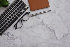 Flat-lay  mockup white office desk working space background stock photography