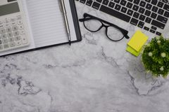 Flat-lay  mockup white office desk working space background royalty free stock images