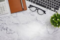 Flat-lay mockup white office desk working space background royalty free stock photo