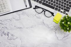 Flat-lay mockup white office desk working space background stock photos