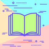 Flat Lay Modern Pastel Colored Open Book Icon With Shadow On Blue And Pink Background Stock Photo