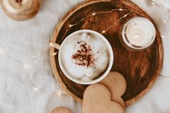 Flat Lay Morning Feminine composition. Instagram style with cup of coffee. Cookies and woman accessories royalty free stock photography