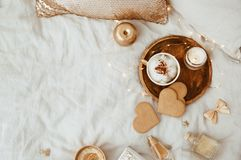 Flat Lay Morning Feminine composition. Instagram style with cup of coffee. Cookies and woman accessories royalty free stock image