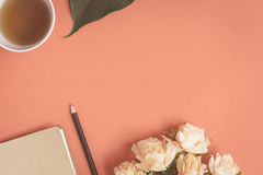 Free Flat Lay Notebook And Rose Placed On A Red Desk Royalty Free Stock Photo - 97420525