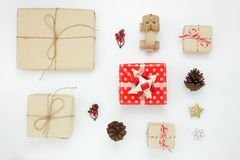 Flat lay of object for merry Christmas and Happy new year concept. Stock Image