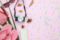 Flat lay objects the accessory for travel summer holiday background concept stock images