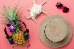 Flat lay objects the accessory for travel summer holiday & music background concept royalty free stock photo