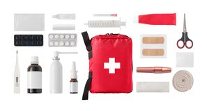 Free Flat Lay Of Medical First Aid Kit Stock Photos - 215582923