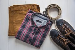 Free Flat Lay Of Men Casual Fashion On Wooden Floor Royalty Free Stock Photo - 110884975
