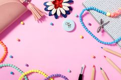 Free Flat Lay Of Woman`s Lifestyle, Accessories And Cosmetics With Pink Background Royalty Free Stock Photo - 121840355