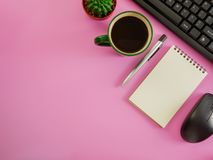 Flat lay office desk with copy space. Flat lay,top view pink office desk and coffee with copy space Royalty Free Stock Photos