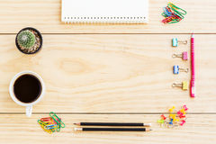 Flat lay office desk Royalty Free Stock Images