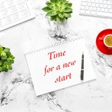 Flat lay Paper tablet pc calendar coffee Start up Stock Photography