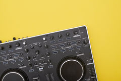 Flat lay of part of mixing board Royalty Free Stock Photos