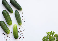 Flat lay pattern with cucumbers, greenery and pepper Royalty Free Stock Photography