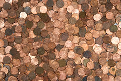 Flat lay pennies Stock Photos