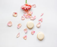 Flat lay with petals and macaroons on white background top view Royalty Free Stock Photos