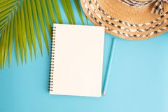 Flat lay photo blank notebook and coconut leaf and hat on blue background , top view and copy space for montage your product royalty free stock photo