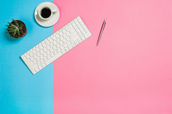 Flat lay photo of a creative freelancer woman workspace desk with copy space background. Image taken from above, top view. Minimal style with colorful paper Stock Photography