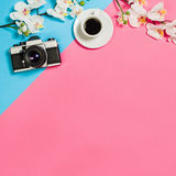 Flat lay photo of a creative freelancer woman workspace desk with copy space background. Royalty Free Stock Photo