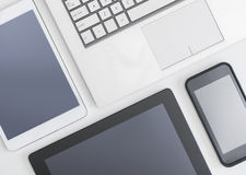 Flat lay photo of gadgets Stock Photos