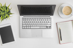 Flat lay photo of office desk Stock Photography