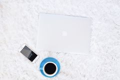 Flat Lay Photography of Apple Devices Near Cup of Coffee Royalty Free Stock Photography