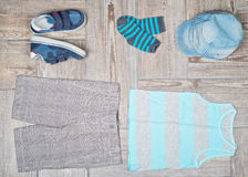 Flat lay photography of boy's casual outfit. Stock Photo