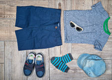 Flat lay photography of boy's casual outfit. Stock Image