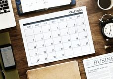 Flat Lay Photography of Calendar Stock Photo