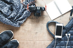 Flat lay photography with cellphone, travel accessories, essenti Royalty Free Stock Photo