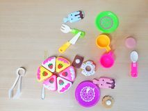 Flat lay photography of colorful utensil toys. Stock Photos