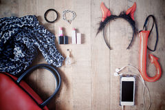 Flat lay photography with Halloween accessories, cosmetics, esse Royalty Free Stock Photos