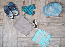 Flat lay photography of male casual outfit. Royalty Free Stock Images