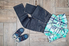 Flat lay picture of boy's casual outfit. Stock Photography