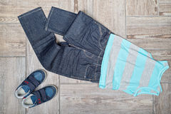 Flat lay picture of boy's casual outfit. Stock Photo