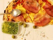Flat lay pizza Royalty Free Stock Photos