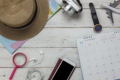 Flat lay of planing travel with technology background concept Royalty Free Stock Photos