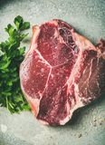 Flat-lay of raw uncooked dry-aged t-bone prime beef steak. Flat-lay of raw uncooked dry-aged t-bone prime beef meat steak with fresh green parsley and smoked Stock Photography