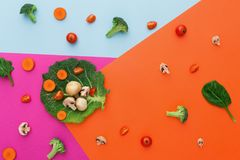 Flat lay of raw vegetables on abstract background. Diet, detox and healthy food concept - top view flat lay of fresh organic raw vegetables on abstract bright Royalty Free Stock Photo