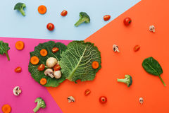 Flat lay of raw vegetables on abstract background. Diet, detox and healthy food concept - top view flat lay of fresh organic raw vegetables on abstract bright Royalty Free Stock Photos