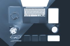 Flat lay x-ray photo of Office table with laptop computer, notebook, digital tablet and mobile phone. Flat lay x-ray photo of Office table with laptop computer Stock Photography