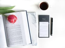 Flat lay: Red tulip, red petals and a Bible on a white table stock image