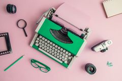 Flat lay of retro blogger equipment background. royalty free stock photography