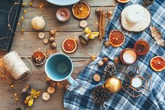 Flat lay of winter or autumn home decor Stock Photo