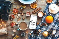 Flat lay of winter or autumn home decor Stock Image