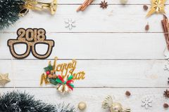 Flat lay serial image of Happy new year 2018 & Merry Christmas background concept. Royalty Free Stock Photos