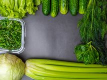 Flat lay series of assorted green toned vegetables, fresh organic raw produce royalty free stock images